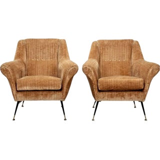 Pair Minotti Mid-Century Velvet Covered Armchairs