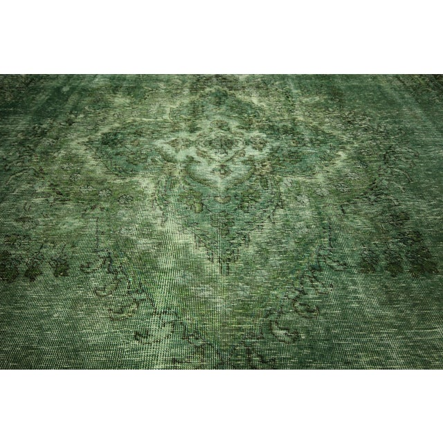 Overdyed Floral Hand Knotted Wool Rug - 9' x 12' - Image 8 of 10
