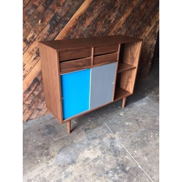 Image of Mid-Century Style Custom Walnut Cabinet