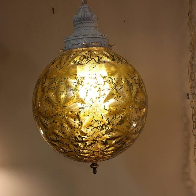 Image of Mid-Century Modern Amber Glass Pendant