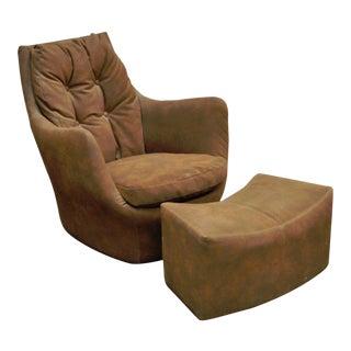 Vintage Milo Baughman Thayer Coggin Mid Century Modern Club Chair & Ottoman