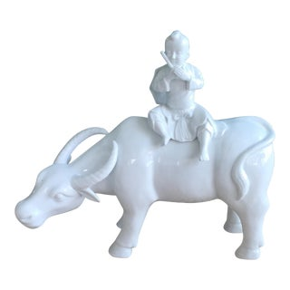 Antique Blanc De Chine Asian Boy Water Buffalo Figurine