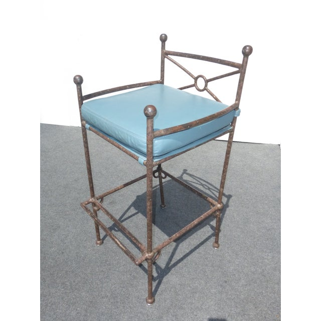 Metal & Turquoise Blue Leather Tall Barstools - 3 - Image 6 of 11