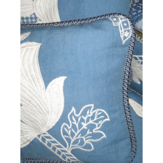 Blue & White Embroidered Pillows - a Pair - Image 2 of 3