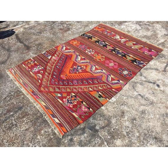 "Vintage Turkish Kilim Rug - 4'4"" X 6'8"" - Image 3 of 6"