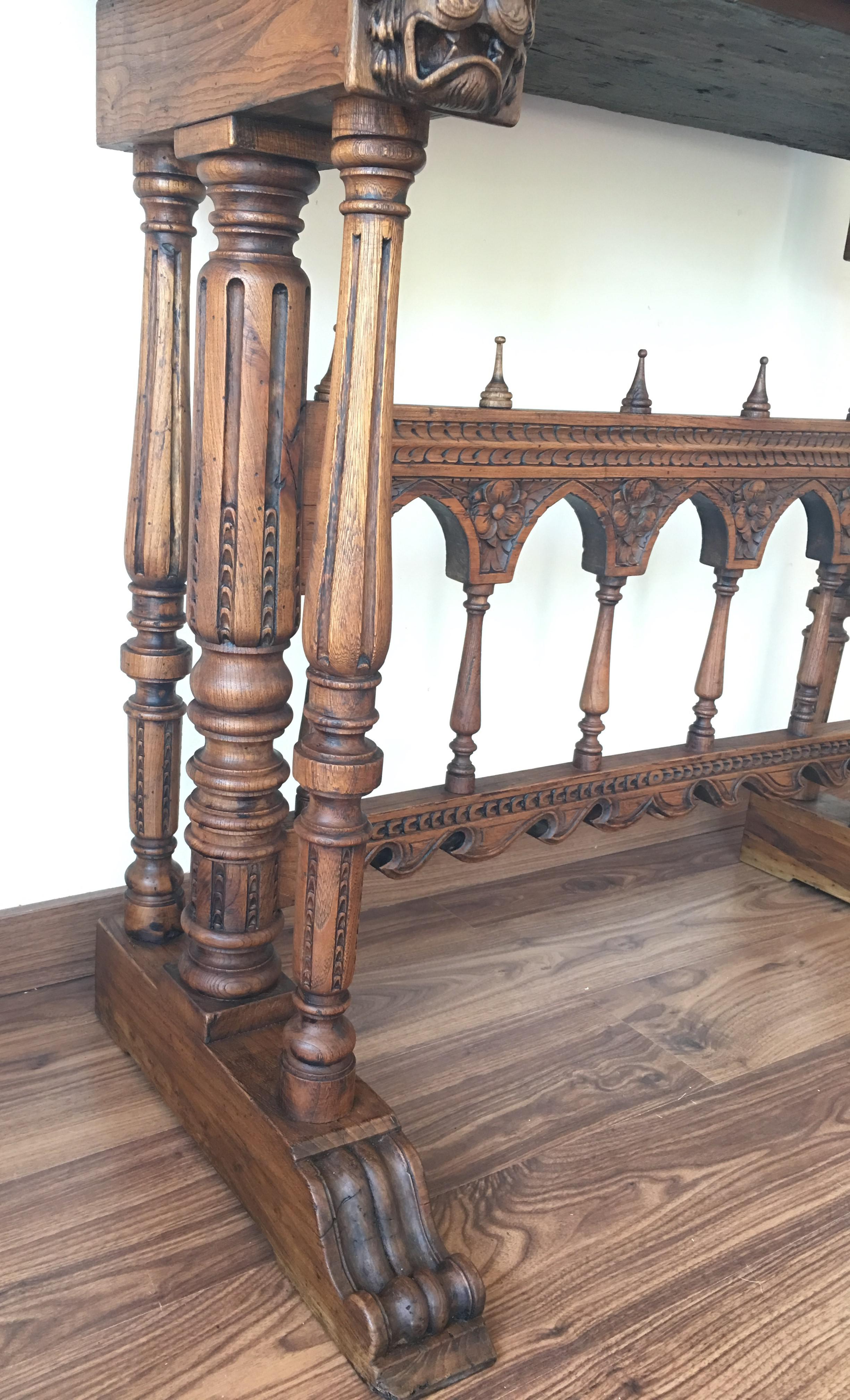 17th Century Bargueno Of Columns With Foot Bridge, Spain, Cabinet On Stand    Image