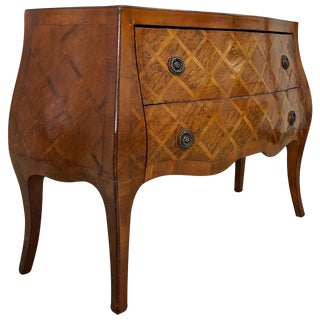 Louis XV Style Marquetry Bombe Commode: Italy, 1960s