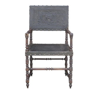 19th Century French Leather Arm Chair