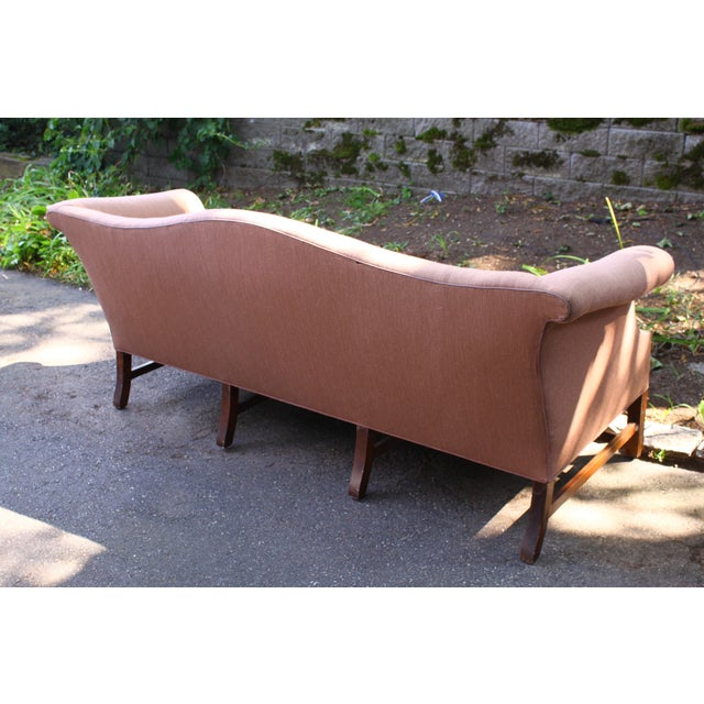 Vintage Queen Anne Sofa Upholstered In Knoll Fabric