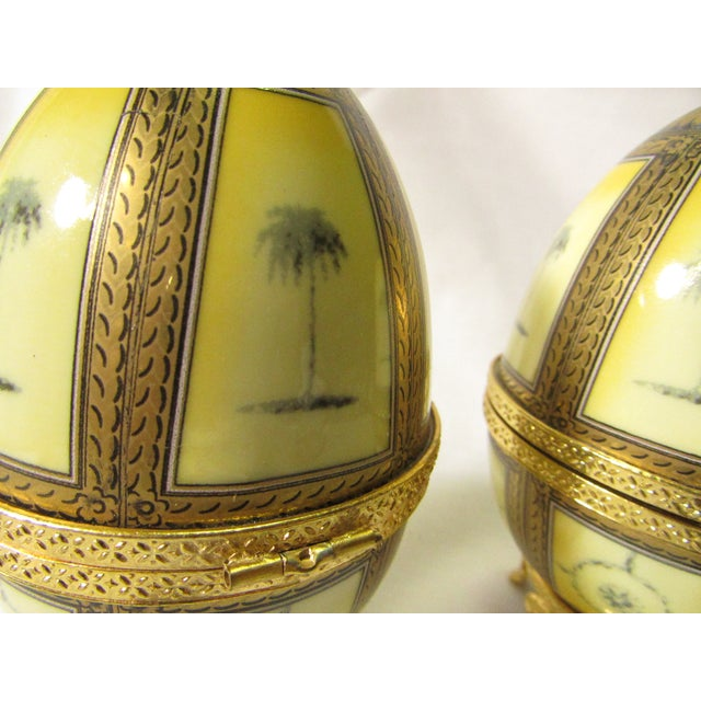 Hinged Porcelain Egg Trinket Box With Palm Trees - A Pair - Image 3 of 7