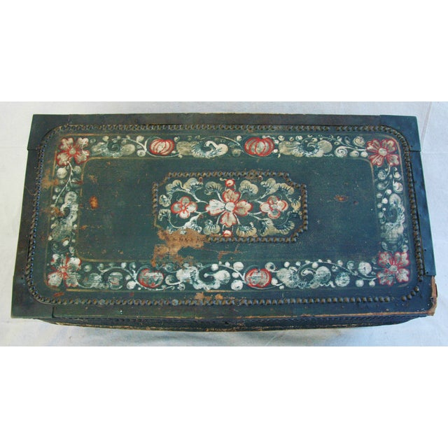French 19th C. Hand Painted Leather Trunk - Image 8 of 10