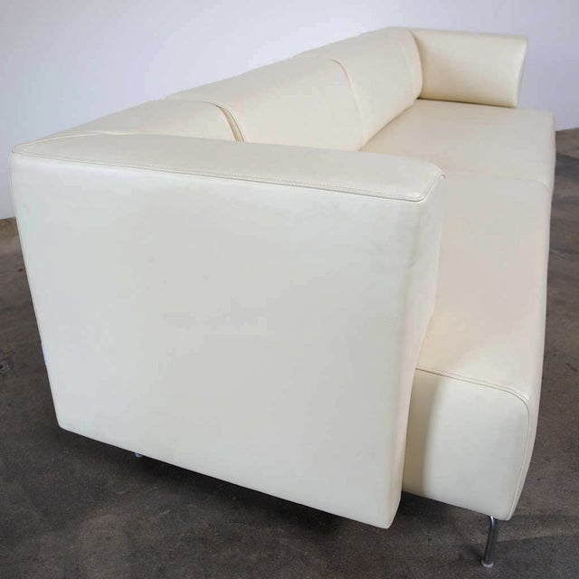 Maurice Villency Ivory Leather Sofa - Image 3 of 5