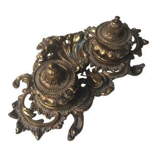 Art Nouveau Cast Metal Double Inkwell