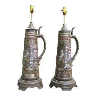 German Brown Ceramic Beer Stein Table Lamps - A Pair