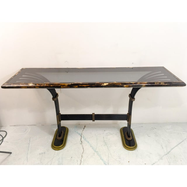 Maitland Smith Horn & Brass Console Table - Image 3 of 8