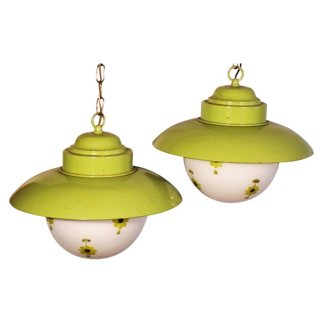 Chartreuse Flower Swag Lamps - A Pair - Image 1 of 7