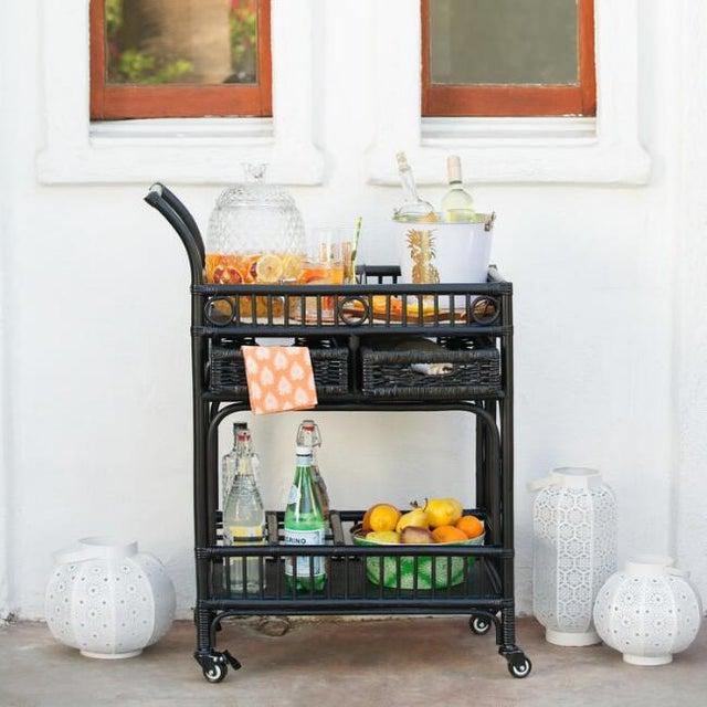 Black Rattan Bar Cart - Image 4 of 4