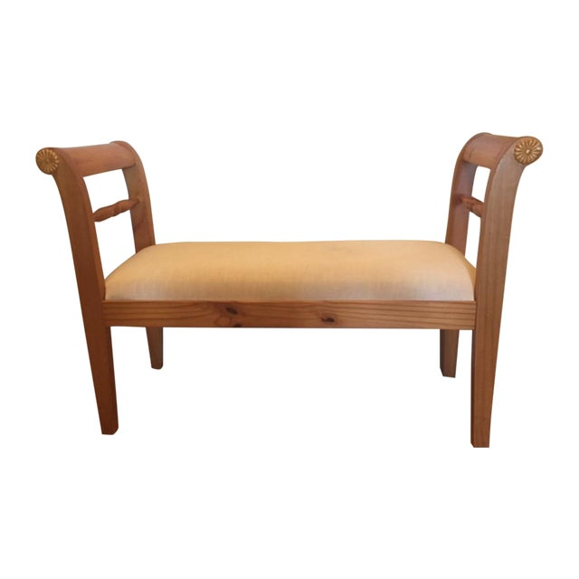 Ivory Scroll Arm Bench Chairish