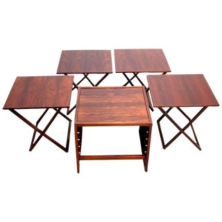 Aksel Kjersgaard Cube of Danish Modern Rosewood Tray Tables