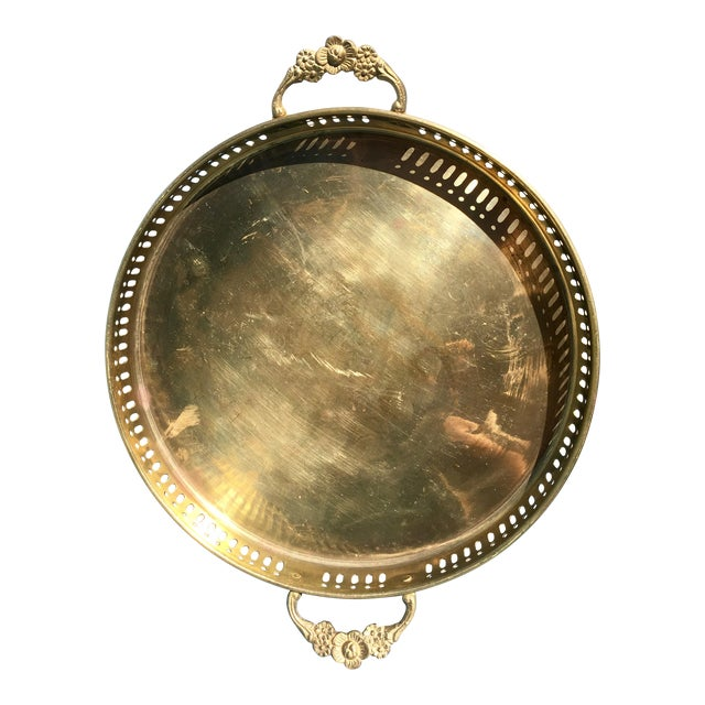 Image of Vintage Brass Tray with Handles