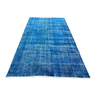 "Navy Blue Overdyed Vintage Handknotted Turkish Rug - 5'3"" X 8'10"""