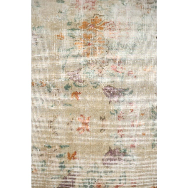"""60s Distressed Floral Oushak Rug - 6'3"""" x 10'2"""" - Image 6 of 7"""