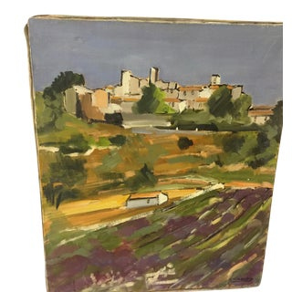 French Impressionist Landscape Painting of Provence Lavender Fields