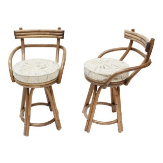 Mid-Century Modern Rattan Bamboo Swivel Bar Stools - Set of 2