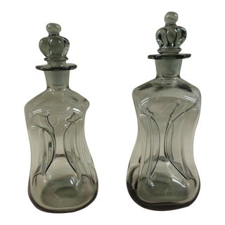 Holmegaard Deco Smoked Glass Decanters - A Pair