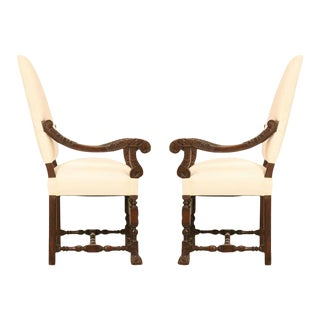 Hand-Carved French White Oak Throne Chairs - A Pair