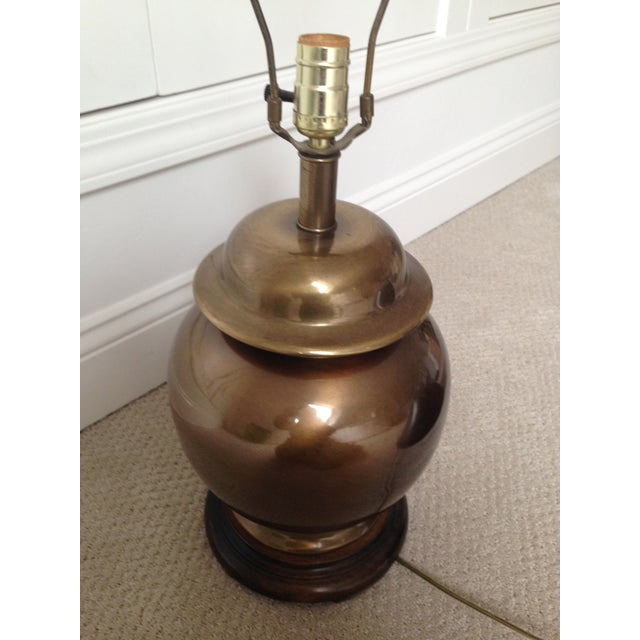 Hollywood Regency Chinoiserie Brass Ginger Lamp - Image 2 of 8