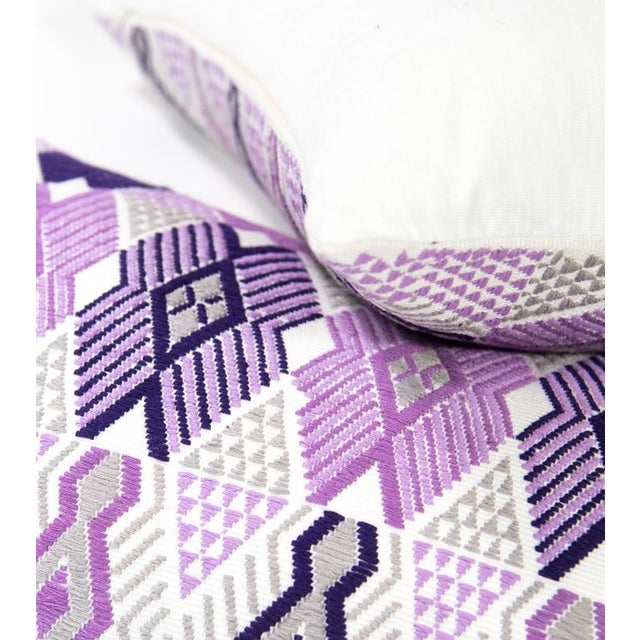 Handwoven Purple & Grey Guatemalan Pillow - Image 2 of 7