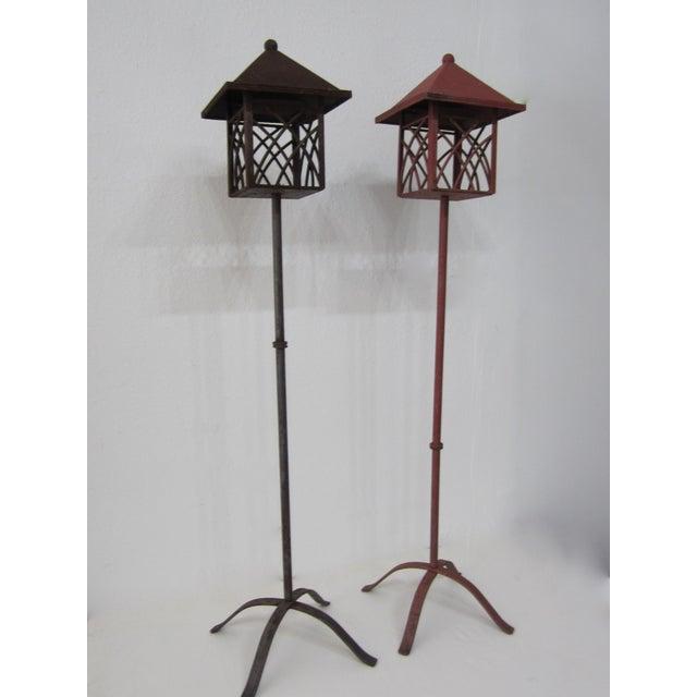 Metal Outdoor Lanterns - Pair - Image 4 of 5