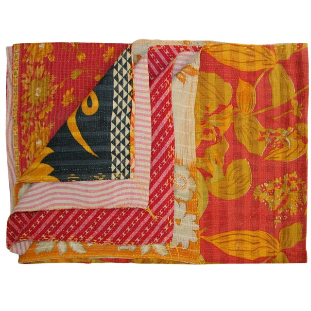 Pinks with Yellow Vintage Kantha Quilt - Image 1 of 3