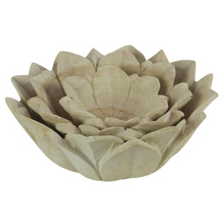 Carved Lotus Sandstone Bowl, Set Of 3