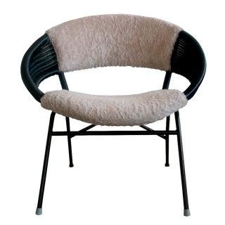 Vintage Danish Black Rattan & Faux Fur Chair