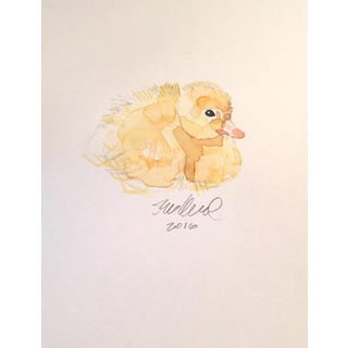 Contemporary Resting Duckling Watercolor Painting
