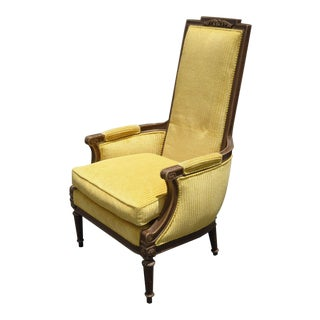 Vintage French Yellow Velvet Chair
