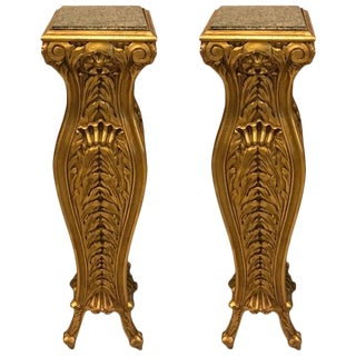 Mid-Century Giltwood Pedestals with Marble Tops - A Pair