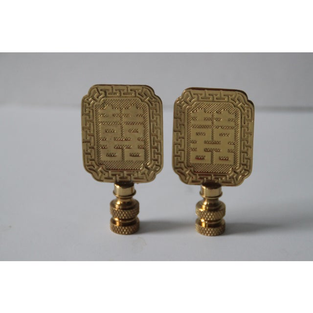 Image of Asian-Style Brass Lamp Finials - Pair
