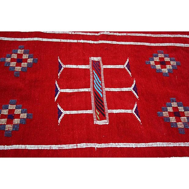 Red Moroccan Cactus Silk Rug - 3'4'' X 1'10'' - Image 2 of 2
