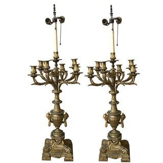 Bronze Gilt Louis XVI Candelabra Lamps - Pair