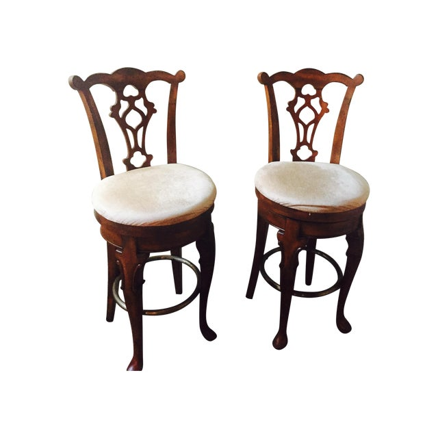 Traditional Wooden Swivel Bar Stools - A Pair - Image 1 of 6
