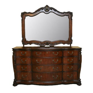 Contemporary Louis XV Style Dresser With Mirror