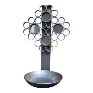 Decorative Gray Metal Bubble Candle Holder