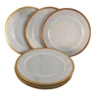Vintage Lustreware Thomas Bavaria Gold Rim White Salad Plates - Set of 6