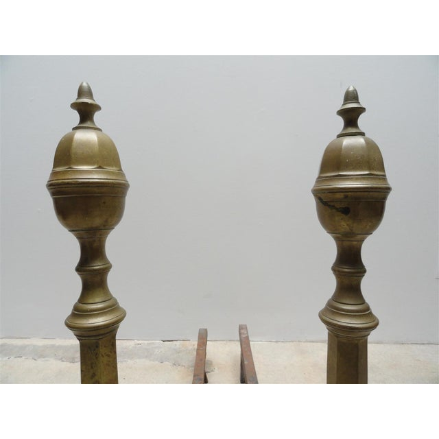 Antique Brass & Iron Andirons - A Pair - Image 5 of 8