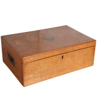 Large Oak Box with Brass Crest