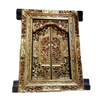 Asian Old Carved Gilt wood wall Hanging Window