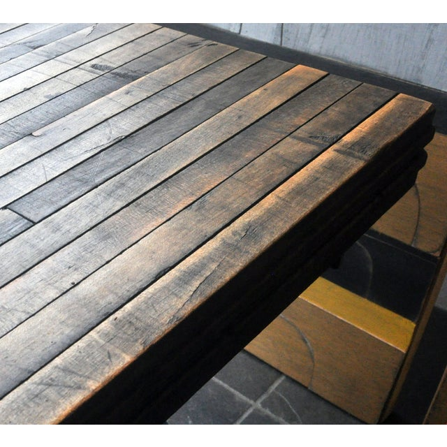 Image of Rustic Industrial-Inspired Reclaimed Wood Bench